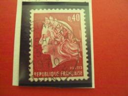 """1967-70 MARIANNE CHEFFER, Timbre Oblitéré N° 1536 B        """"   0.40 Rouge Carminé     """"   Net  0.20  Photo 1 - 1967-70 Marianne (Cheffer)"""