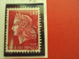 """1967-70 MARIANNE CHEFFER, Timbre Oblitéré N° 1536 B        """"   0.40 Rouge Carminé     """"   Net  0.20  Photo  2 - 1967-70 Marianne (Cheffer)"""