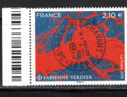 France 2019.Fabienne Verdier.cachet Rond.Gomme D'Origine. - France