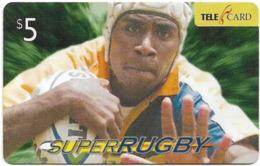 Fiji - Telecom Fiji - Super RUGBY, Player Fending, Cn.04052, Remote Mem. 5$, Used - Fiji