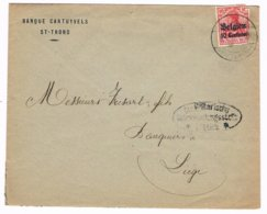 OC 3 St Trond  1916 Censuurbrief CTR Militarische Uberwachungsstelle Luttich Vanuit Banque Cartuyvels St Trond - WW I