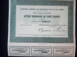 1 Cie LAC LEMAN Lausanne 1939 + Coupons - Shareholdings