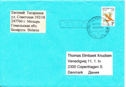 Belarus Cover Sent To Denmark 24-11-2008 Single Franked - Bielorussia