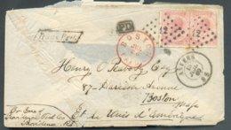 N°20(2) - 40 Centimes Rose, 2 Ex. Obl. LP.12 Sur Enveloppe D'ANVERS Le 13 Juillet 1869 Vers Boston (USA) + Griffe Trans. - 1865-1866 Profile Left