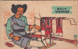 Wooden Postcard; Pueblo Indian Belt Weaver , 30-40s - Native Americans