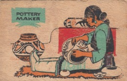 Wooden Postcard; Modern Pueblo Potterr , 30-40s - Native Americans