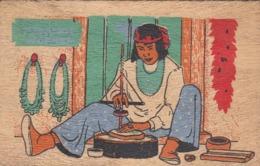 Wooden Postcard; Santo Domingo Turquoise Worker , 30-40s - Indiani Dell'America Del Nord