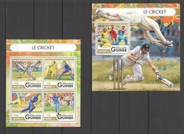 ST016 2016 GUINEE GUINEA SPORTS CRICKET 1KB+1BL MNH - Cricket