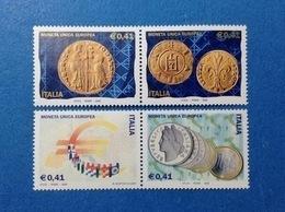2002 ITALIA FRANCOBOLLI NUOVI STAMPS NEW MNH** IN DITTICO EURO MONETA UNICA EUROPEA 4 VALORI - 2001-10: Nieuw/plakker