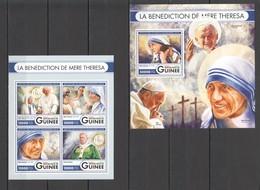 ST038 2016 GUINEE GUINEA FAMOUS PEOPLE MOTHER TERESA POPES 1KB+1BL MNH - Mutter Teresa