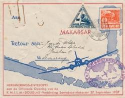 Nederlands Indië - 1937 - 30c Luchtpost Op 1e Vlucht Van Soerabaja Naar Makasser - Nederlands-Indië