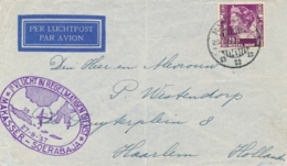 Nederlands Indië - 1937 - 20c Wilhelmina Op 1e Vlucht Van LBnr Makasser/1 Naar Soerabaja En Door Naar Haarlem / NL - Nederlands-Indië