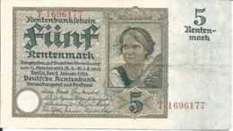 BILLET DE 5 RENTENMARK - BANKNOTE FUNFRENTENMARK - [ 3] 1918-1933 : Weimar Republic