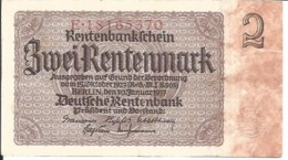 BILLET DE 2 RENTENMARK - BANKNOTE ZWEI RENTENMARK - 2 Mark