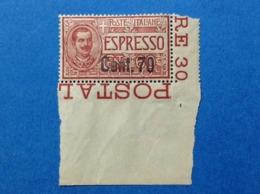 1924 1925 ITALIA REGNO FRANCOBOLLI NUOVI 1,1S NEW MNH** ESPRESSO SOPRASTAMPATO 70 SU 60 CENT - 1900-44 Victor Emmanuel III.