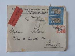Devant De Lettre Envoyée Par Avion De Saigon -  Indochine Vers Paris  - Cachet Cochinchine    ... Lot40 . - Indochina (1889-1945)