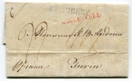 RC 14529 ANGLETERRE 1821 LETTRE DE LEEDS ENTRÉE ANGLETERRE TRANSIT A CHAMBERY POUR TURIN TB - 1801-1848: Précurseurs XIX