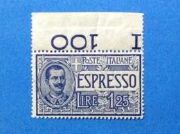 1925 1926 ITALIA REGNO FRANCOBOLLO NUOVO STAMP NEW MNH** ESPRESSO 1,25 LIRE - 1900-44 Victor Emmanuel III.
