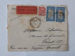 Devant De Lettre Envoyée Par Avion De Saigon Marseille - Indochine - Cochinchine - Cachets Divers ... Lot40 - Indochina (1889-1945)