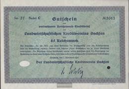 German Empire 85 Reichsmark, Gutschein Very Fine 1932 Landwirts. Kreditverein Saxony - [ 3] 1918-1933 : Weimar Republic
