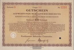 German Empire 100 Reichsmark, Gutschein To Aufwertungs-Schuldverschreibung Very Fine 1931 Kreditanstalt Sachs. Municipal - 1918-1933: Weimarer Republik