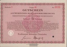 German Empire 50 Reichsmark, Gutschein To Aufwertungs-Schuldverschreibung Very Fine 1931 Kreditanstalt Sachs. Municipali - [ 3] 1918-1933 : Weimar Republic