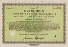 German Empire 10 Reichsmark, Gutschein To Aufwertungs-Schuldverschreibung Very Fine 1931 Kreditanstalt Sachs. Municipali - [ 3] 1918-1933 : Weimar Republic