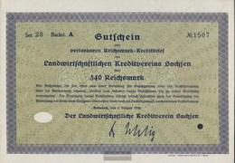 German Empire 340 Reichsmark, Gutschein Very Fine 1930 Landwirts. Kreditverein Saxony - [ 3] 1918-1933 : Weimar Republic