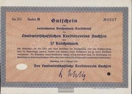 German Empire 17 Reichsmark, Gutschein Very Fine 1930 Landwirts. Kreditverein Saxony - [ 3] 1918-1933 : Weimar Republic