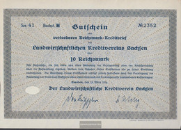German Empire 10 Reichsmark, Gutschein Druckfrisch 1934 Landwirts. Kreditverein Saxony - [ 4] 1933-1945 : Third Reich