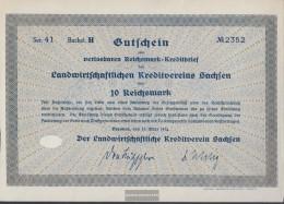 German Empire 10 Reichsmark, Gutschein Druckfrisch 1934 Landwirts. Kreditverein Saxony - [ 4] 1933-1945: Derde Rijk