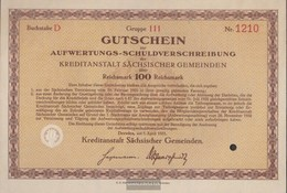 German Empire 100 Reichsmark, Gutschein To Aufwertungs-Schuldverschreibung Druckfrisch 1931 Kreditanstalt Sachs. Municip - 1918-1933: Weimarer Republik
