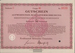 German Empire 50 Reichsmark, Gutschein To Auiwertungs-Schuldverschreibung Druckfrisch 1931 Kreditanstalt Sachs. Municipa - [ 3] 1918-1933 : Weimar Republic