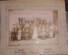 COURGEOÛT / COURGEOUST PRES MORTAGNE AU PERCHE ORNE-PHOTO ANCIENNE CAFE RESTAURANT DU CALVAIRE-PHOTO J.PERVIS 30x24 Cms - Oud (voor 1900)