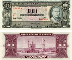 Bolivia. Banknote. 100 Bolivian. UNC. 1945 - Bolivie