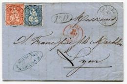 RC 14531 SUISSE 1865 - 30c + 10c SUR LETTRE DE CHIASSO POUR LYON FRANCE ENTRÉE SUISSE / LYON EN ROUGE TB - 1862-1881 Helvetia Assise (dentelés)