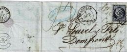 TP N° 4 Sur Lettre De Granville Avec Cad Type 14 Pour Domfront - 1849-1876: Période Classique
