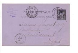 ENTIER SAGE DE AMANCE HAUTE SAONE 1887 - Marcophilie (Lettres)