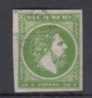 ESPAÑA.  EDIFIL 160 US.  50 C DE  R VERDE CARLOS VII.  CATÁLOGO 90 € - 1873-74 Regencia