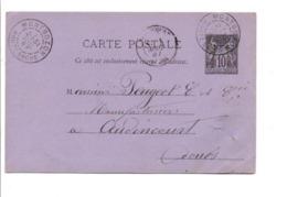 ENTIER SAGE DE MONTBOZON HAUTE SAONE POUR AUDINCOURT 1887 - Postmark Collection (Covers)