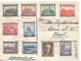 CZECHOSLOVAKIA 1928 Card With A Complete Set Sc#242-151 CARD USED - Cartas