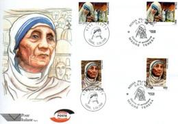 BUSTONE CON EMISSIONE CONGIUNTA ITALIA-ALBANIA 4 VALORI CON  MADRE TERESA DI CALCUTTA G.EMISSIONE  5.9.1998 - Madre Teresa