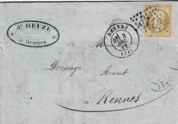 TP N° 21 Seul Sur Lettre De Rennes Pour Rennes Avec Cad Type 17 Et Losange GC3112 - Postmark Collection (Covers)