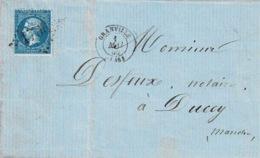 TP N° 22 Seul Sur Lettre De Granville Pour Ducey Avec Cad Type 17 Et Losange GC 1706 - Poststempel (Briefe)