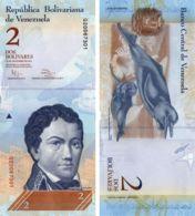 Venezuela. Banknote2 Bolivars. 2012. UNC. P88. Dolphins - Venezuela