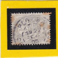 TYPE BLANC  N° 107   + CACHET  A DATE  PLOUHA    22 FEV. 1905- REF ACDIV - 1900-29 Blanc