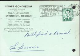 Flamme Vacances En Juin Plus D'espace Vacantie In Juni Meer Ruimte Sur CP Des Usines Gondrexon (1960) - Postmark Collection
