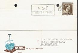 Flamme Vis ? 't Beste Wat Er Is ! Sur CP De Egeda, Kipdorp, Antwerpen (1956) - Postmark Collection