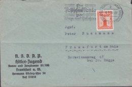 Deutsches Reich N.S.D.A.P. Hitler-Jugend Banne & Jungbanne 81/186 FRANKFURT 1939 Cover Brief 8 Pf Adler Auf Sockel Stamp - Service
