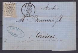 N° 17 / Lettre De DISON Vers Verviers ( Lac ) - 1865-1866 Profile Left